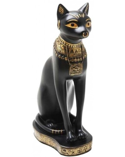 Bastet Black Cat with Gold Necklace Egyptian Statue at Egyptian Marketplace,  Egyptian Decor Statues, Jewelry & Art - God Statues & Museum Replicas