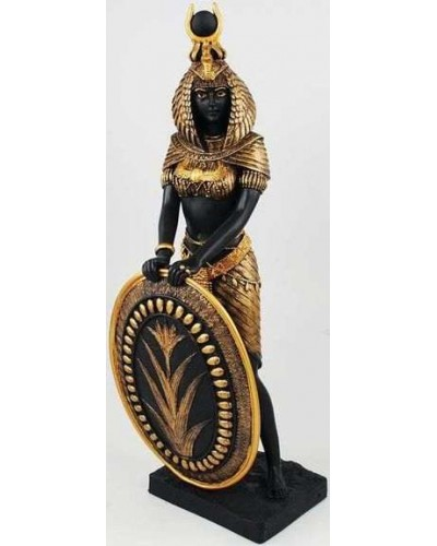 Isis Egyptian Goddess with Shield Statue -11 Inches at Egyptian Marketplace,  Egyptian Decor Statues, Jewelry & Art - God Statues & Museum Replicas
