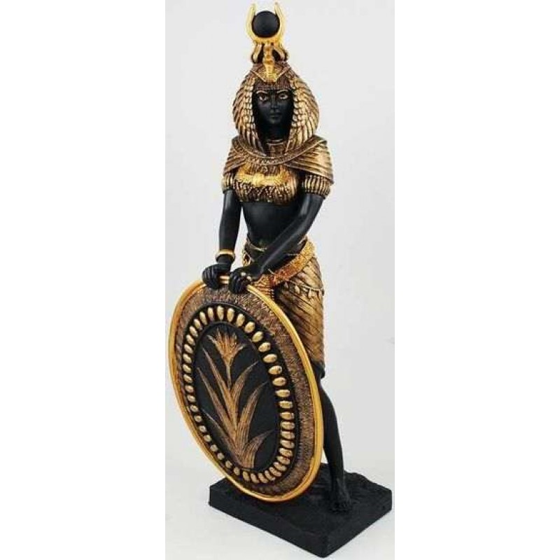 Isis Egyptian Goddess With Shield Statue  11 Inches