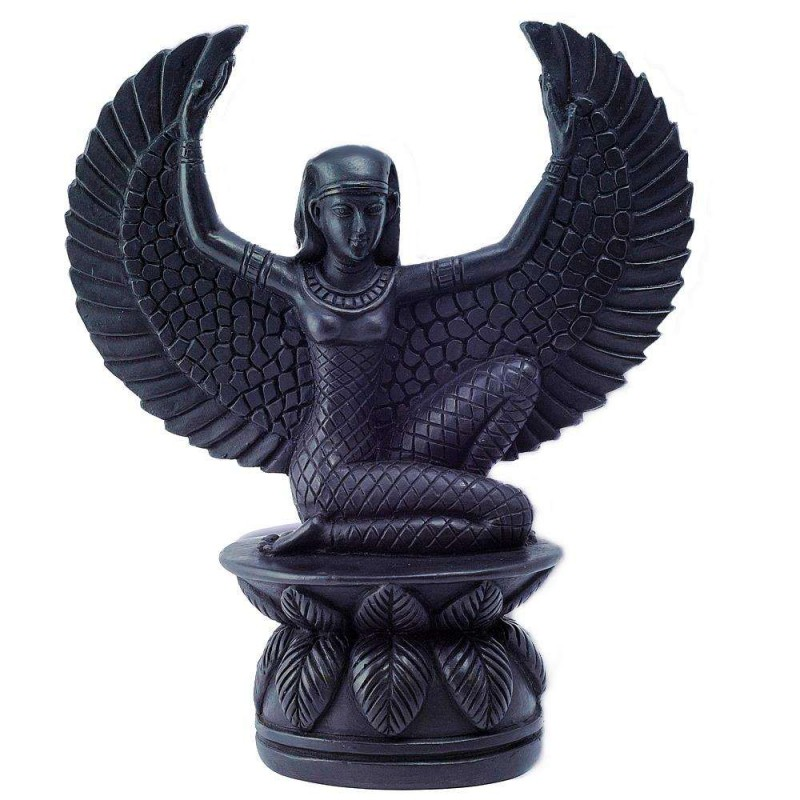 Winged Isis Black Resin Statue