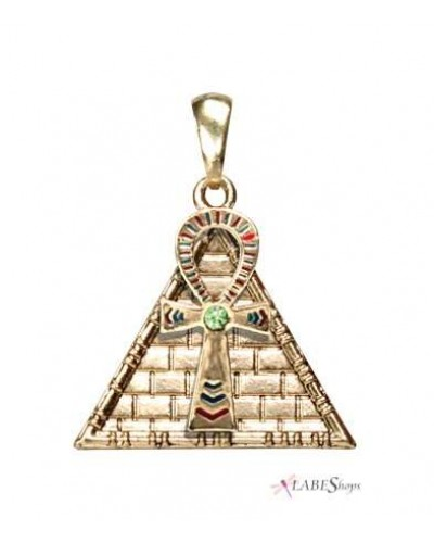 Ankh Pyramid Egyptian Necklace at Egyptian Marketplace,  Egyptian Decor Statues, Jewelry & Art - God Statues & Museum Replicas