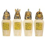 Set of 4 Mini Egyptian Canopic Jars at Egyptian Marketplace,  Egyptian Decor Statues, Jewelry & Art - God Statues & Museum Replicas