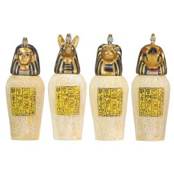 Set of 4 Mini Egyptian Canopic Jars Egyptian Marketplace  Egyptian Decor Statues, Jewelry & Art - God Statues & Museum Replicas