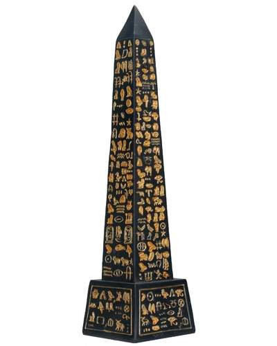 Egyptian Obelisk Black and Gold Statue at Egyptian Marketplace,  Egyptian Decor Statues, Jewelry & Art - God Statues & Museum Replicas