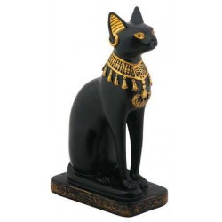 Bastet Black Cat with Lotus Collar Statue Egyptian Marketplace  Egyptian Decor Statues, Jewelry & Art - God Statues & Museum Replicas