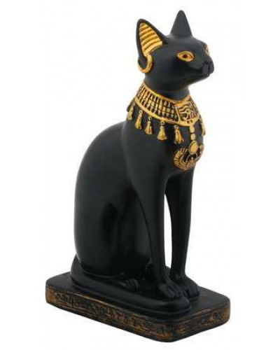 Bastet Black Cat with Lotus Collar Statue at Egyptian Marketplace,  Egyptian Decor Statues, Jewelry & Art - God Statues & Museum Replicas