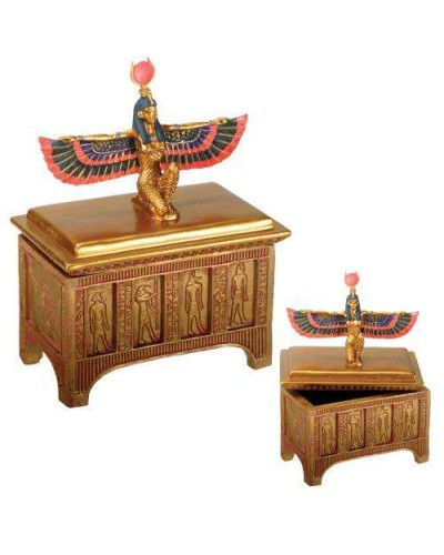 Winged Isis Golden Trinket Box at Egyptian Marketplace,  Egyptian Decor Statues, Jewelry & Art - God Statues & Museum Replicas