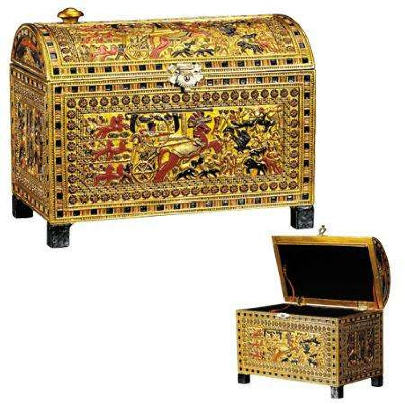 King tut hunting scene chest from king tuts tomb treasures for Ancient egyptian tomb decoration