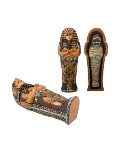 King Tut Small Coffin with Mummy at Egyptian Marketplace,  Egyptian Decor Statues, Jewelry & Art - God Statues & Museum Replicas