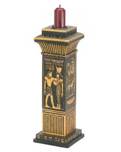 Egyptian Column Candle Holder at Egyptian Marketplace,  Egyptian Decor Statues, Jewelry & Art - God Statues & Museum Replicas