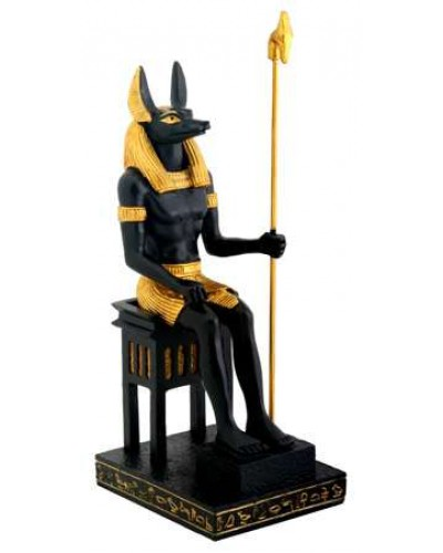 Anubis Egyptian God Seated Statue at Egyptian Marketplace,  Egyptian Decor Statues, Jewelry & Art - God Statues & Museum Replicas