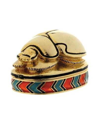 Scarab Jeweled Egyptian Gold Plated Box at Egyptian Marketplace,  Egyptian Decor Statues, Jewelry & Art - God Statues & Museum Replicas