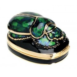Scarab Green Jeweled Egyptian Gold Plated Box