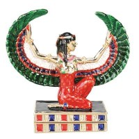 Maat Egyptian Goddess Gold Plated Jeweled Box