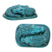 Faience Blue Egyptian Crocodile Statue