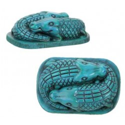 Faience Blue Egyptian Crocodile Statue Egyptian Marketplace  Egyptian Decor Statues, Jewelry & Art - God Statues & Museum Replicas