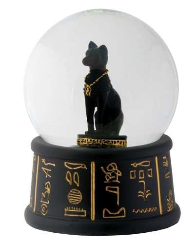Bastet Egyptian Cat Water Globe at Egyptian Marketplace,  Egyptian Decor Statues, Jewelry & Art - God Statues & Museum Replicas