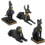 Egyptian Animal God 4 Piece Statue Set at Egyptian Marketplace,  Egyptian Decor Statues, Jewelry & Art - God Statues & Museum Replicas