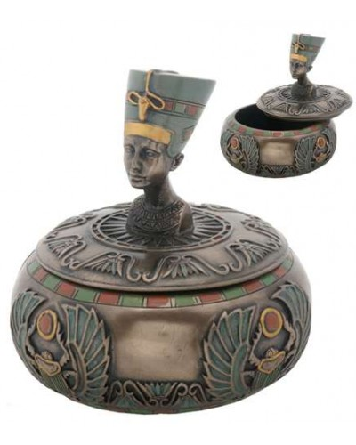 Nefertiti Egyptian Round Trinket Box at Egyptian Marketplace,  Egyptian Decor Statues, Jewelry & Art - God Statues & Museum Replicas