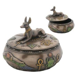 Anubis Egyptian Jackal Round Trinket Box