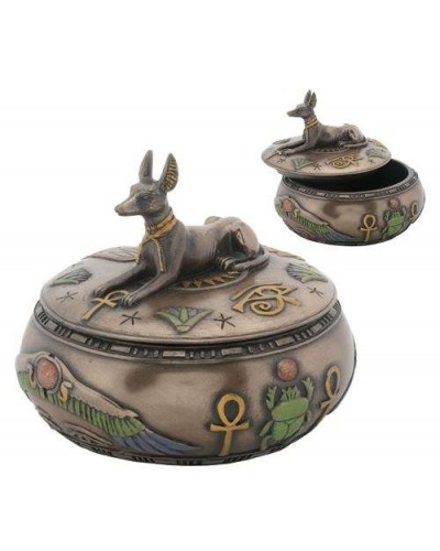 Anubis Egyptian Jackal Round Trinket Box at Egyptian Marketplace,  Egyptian Decor Statues, Jewelry & Art - God Statues & Museum Replicas