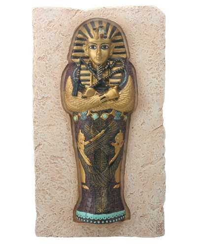 King Tut Coffin Plaque at Egyptian Marketplace,  Egyptian Decor Statues, Jewelry & Art - God Statues & Museum Replicas