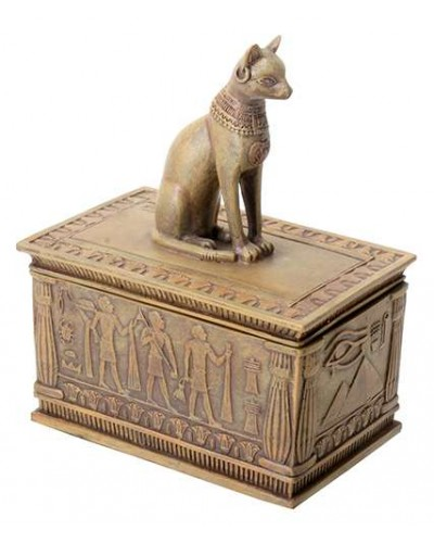 Bastet Sandstone Color Resin 5 Inch Box at Egyptian Marketplace,  Egyptian Decor Statues, Jewelry & Art - God Statues & Museum Replicas