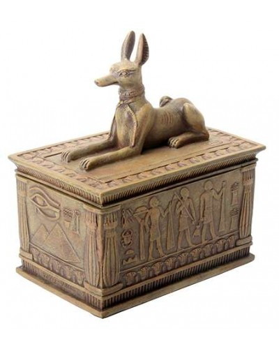 Anubis Sandstone Color Resin 5 Inch Box at Egyptian Marketplace,  Egyptian Decor Statues, Jewelry & Art - God Statues & Museum Replicas