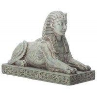 Sphinx Small Stone Finish Resin Egyptian Statue - 3.25 Inches