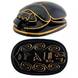 Black and Gold Egyptian Scarab Egyptian Marketplace  Egyptian Decor Statues, Jewelry & Art - God Statues & Museum Replicas