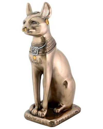 Bastet Bronze Cat Statue at Egyptian Marketplace,  Egyptian Decor Statues, Jewelry & Art - God Statues & Museum Replicas