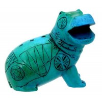 Egyptian Blue Hippo Mini Statue