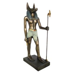 Anubis Bronze Resin Statue with Was Staff - 8.75 Inches