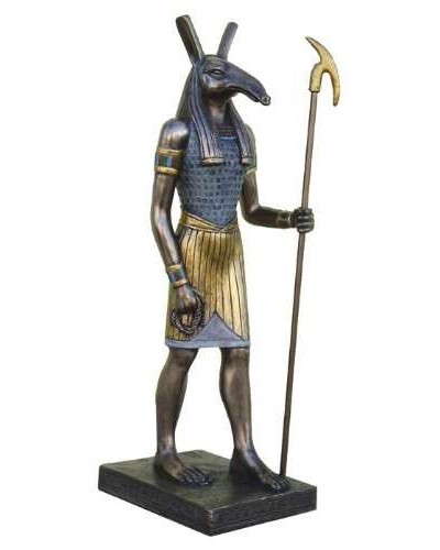 Seth Bronze Resin Egyptian God of Chaos Statue - 8.75 Inches at Egyptian Marketplace,  Egyptian Decor Statues, Jewelry & Art - God Statues & Museum Replicas