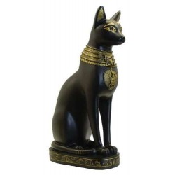 Bastet Egyptian Cat Goddess Black and Gold Statue