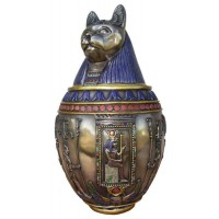 Bastet Large Bronze Canopic Jar