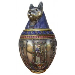 Bastet Large Bronze Canopic Jar Egyptian Marketplace  Egyptian Decor Statues, Jewelry & Art - God Statues & Museum Replicas