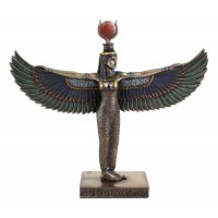 Winged Isis Standing Egyptian Bronze 8.5 Inch Statue