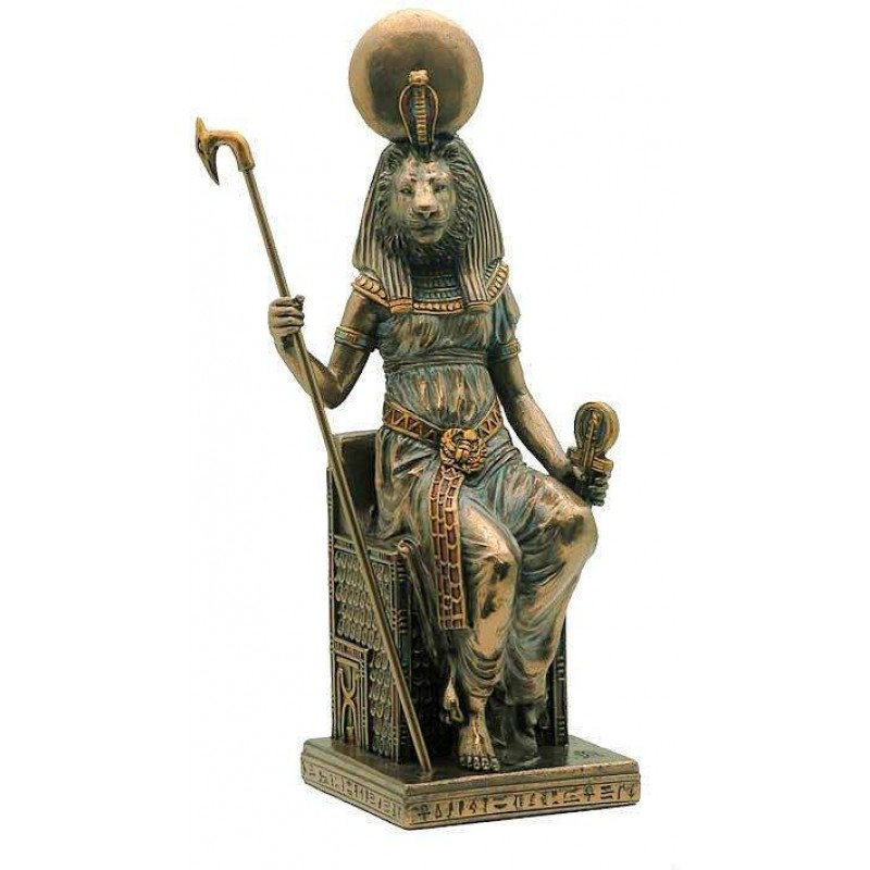 Sehkmet Egyptian Lion Cat Goddess Statue Sitting On Her Throne 8 Inches