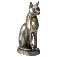 Bastet Bronze Egyptian Cat Goddess Statue wtih Color Jewelry