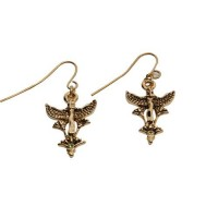 Maat Egyptian Goddess and Lotus Earrings