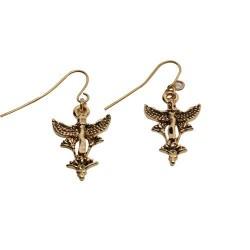 Maat Egyptian Goddess and Lotus Earrings
