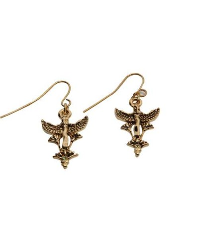 Maat Egyptian Goddess and Lotus Earrings at Egyptian Marketplace,  Egyptian Decor Statues, Jewelry & Art - God Statues & Museum Replicas