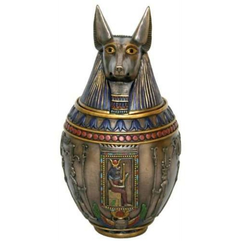 Duamutef Egyptian Jackal Headed Canopic Jar 10 Inches Anubis
