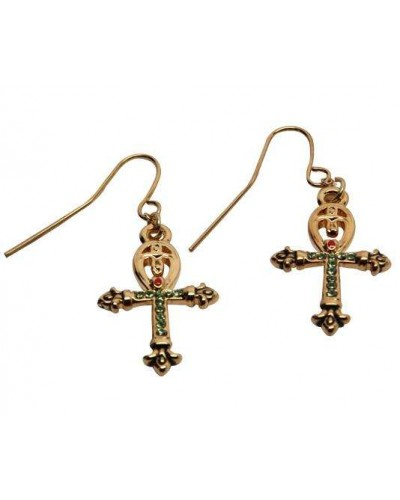 Ankh Egyptian Cross Earrings at Egyptian Marketplace,  Egyptian Decor Statues, Jewelry & Art - God Statues & Museum Replicas