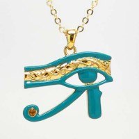 Egyptian Eye of Horus Blue Enameled Necklace