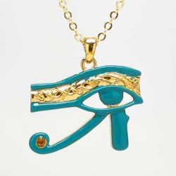 Egyptian Eye of Horus Blue Enameled Necklace Egyptian Marketplace  Egyptian Decor Statues, Jewelry & Art - God Statues & Museum Replicas